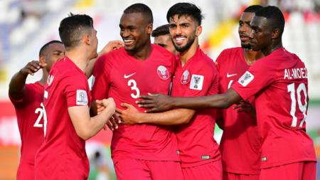 Timnas Qatar selebrasi atas gol ke gawang Korea Utara di Piala Asia 2019. - INDOSPORT