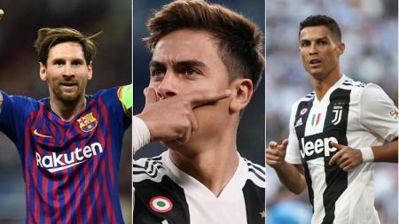 Lionel Messi, Paulo Dybala dan Cristiano Ronaldo - INDOSPORT