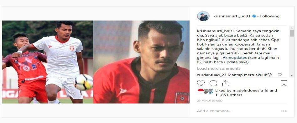 Krisna Murti menyindir seorang pemain sepak bola Copyright: Instagram