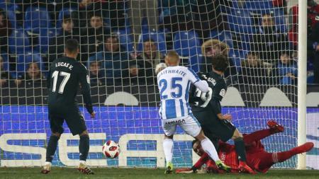Pemain Leganes Martin Braithwaite membobol gawang Real Madrid dalam ajang Copa del Rey, Spanyol, Kamis (17/01/19). - INDOSPORT