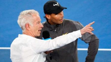 Rafael Nadal dan John McEnroe di Australia Terbuka 2019. - INDOSPORT