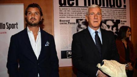 Marcelo Lippi (kanan) dan putranya, Davide Lippi. - INDOSPORT