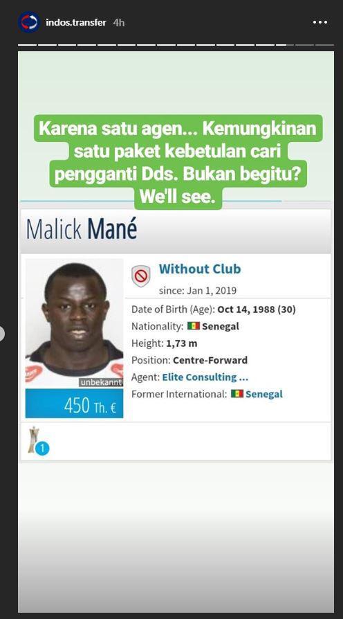 Malick Mane, diisukan diincar Persebaya Copyright: Instagram/@indos.transfer