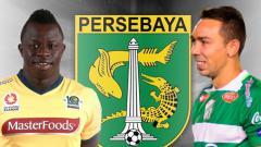 Indosport - Damian Lizio dan Malick Mane logo Persebaya