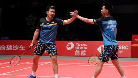 Pasangan ganda putra Indonesia menempati peringkat 1 dunia lebih dari 3 tahun, media asing berikan sanjungan kepada Kevin Sanjaya/Marcus Gideon. - INDOSPORT