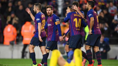 Selebrasi para pemain Barcelona usai cetak gol ke gawang Leganes, Senin (21/01/19). - INDOSPORT