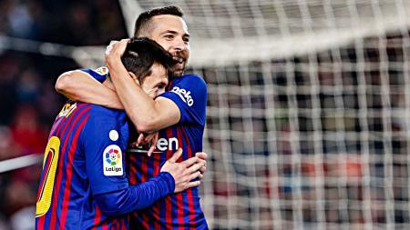 Selebrasi Lionel Messi dan Jordi Alba saat merayakan gol ke gawang Leganes. - INDOSPORT