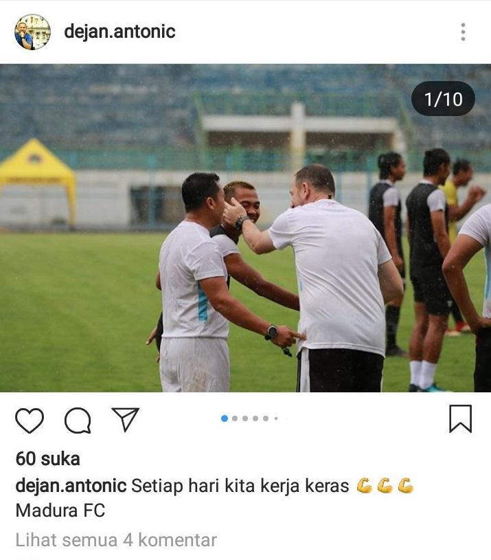 Dejan Antonic salah menuliskan nama klubnya Madura United di instagram. Copyright: instagram.com/dejan.antonic