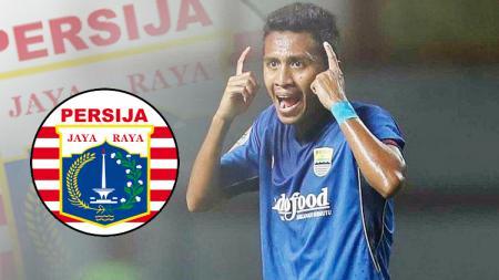 Syafril Lestaluhu dan logo Persija Jakarta. - INDOSPORT