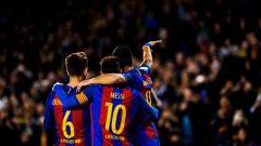 Indosport - Denis Suarez, Lionel Messi, dan Luis Suarez