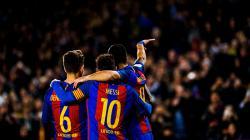 Denis Suarez, Lionel Messi, dan Luis Suarez