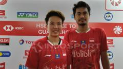 Indosport - Tontowi Ahmad/Liliyana Natsir usai babak pertama Indonesia Masters 2019.