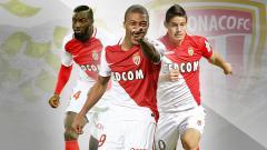 Indosport - Kiri-kanan: Tiemoue Bakayoko, Kylian Mbappe, dan James Rodriguez