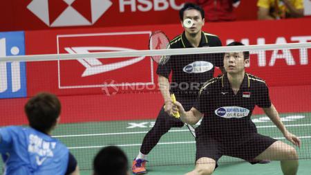 Hendra Setiawan/ Muhammad Ahsan berhasil melaju ke semifinal Indonesia Master 2019. - INDOSPORT