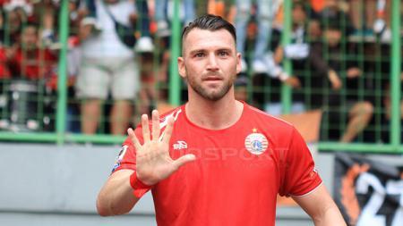 Aksi selebrasi Simic setelah mencetak gol untuk Persija Jakarta. - INDOSPORT