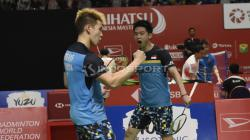 Kevin/Marcus saat tampil di Indonesia Masters 2019.