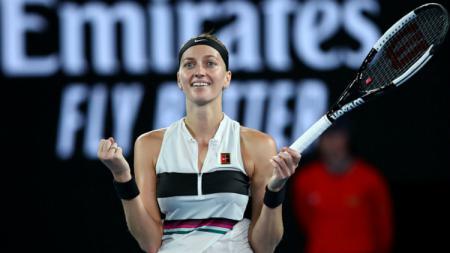 Petra Kvitova selebrasi saat memastikan tiket final Australia Terbuka 2019. - INDOSPORT