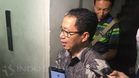 Plt Ketua Umum PSSI, Joko Driyono usai memenuhi panggilan Satgas Antimafia Bola. - INDOSPORT