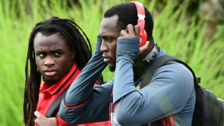 Dua pesepakbola adik dan kakak, Jordan dan Romelu Lukaku saat berlatih di Timnas Belgia. - INDOSPORT