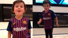 Indosport - Tingkah gemas dari putra kedua Lionel Messi