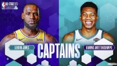 Indosport - LeBron James dan Giannis Antetokounmpo jadi kapten di NBA All-Star 2019
