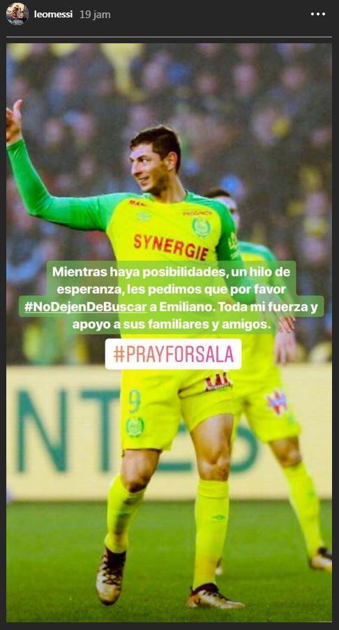 Lionel Messi mengunggah ungkapan hatinya tentang Emiliano Sala. Copyright: Instagram/Lionel Messi