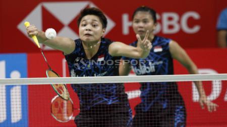Ganda putri Indonesia, Greysia Polii/Apriyani Rahayu baru saja merampungkan babak semifinal Indonesia Masters 2019 pada Sabtu (26/1/2019). - INDOSPORT