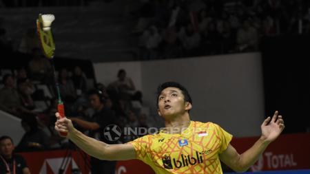 Jonatan Christie gagal melaju ke final Indonesia Masters 2019 usai ditundukan Antonsen. - INDOSPORT