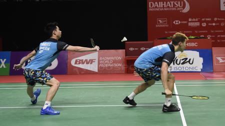 Pasangan ganda putra Indonesia, Marcus Fernaldi Gideon/Kevin Sanjaya Sukamuljo berhasil melaju ke final Indonesia Masters 2019 - INDOSPORT