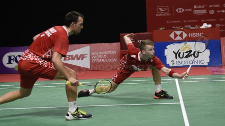Pasangan ungggulan 4 Kim Astrup/Anders Skaarup Rasmussen membongkar 'borok' mereka usai dikalahkan Joel Eipe/Rasmus Kjaer di Denmark Open 2020. - INDOSPORT