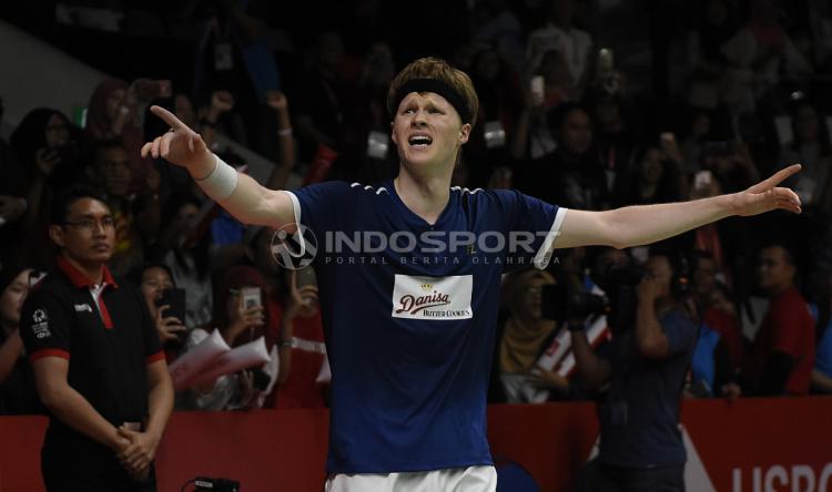 Pebulutangkis Denmark, Anders Antonsen. Copyright: Herry Ibrahim/Indosport.com