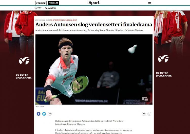 Keberhasilan Antonsen Meraih Juara Indonesian Masters 2019 di Sorot Media Denmark Copyright: jyllands-posten