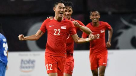 Gabriel Quak saat melakukan selebrasi bersama Timnas Singapura - INDOSPORT