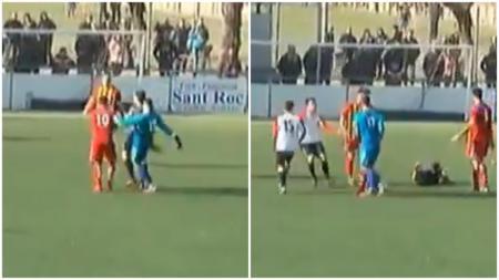 Aksi kiper Spanyol Ivan Gonzalez menendang wasit pertandingan usai golnya dianulir. - INDOSPORT