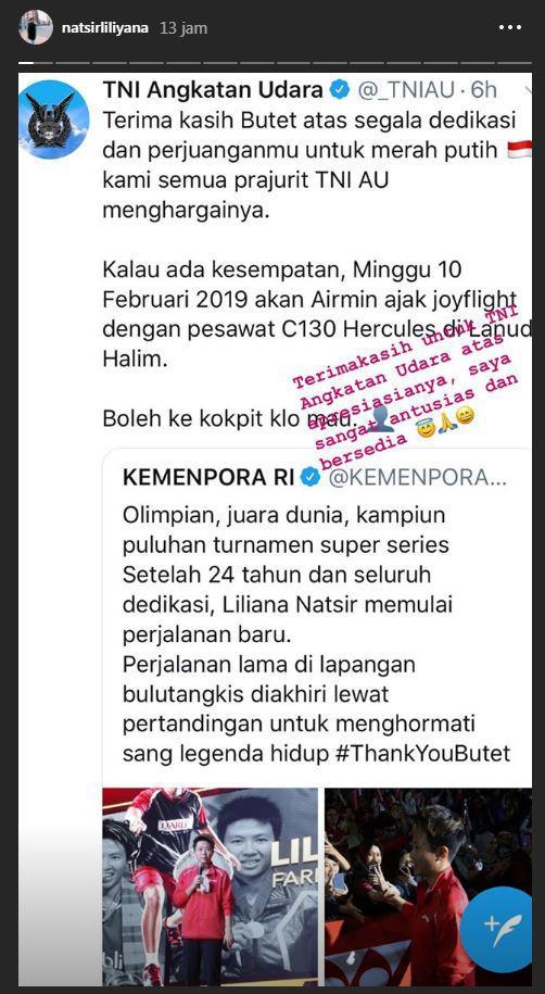 Tanggapan Liliyana Natsir terkait undangan TNI AU. Copyright: Instagram/Liliyana Natsir