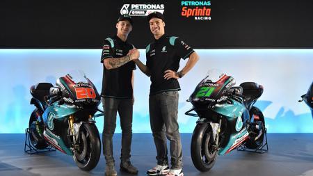 Fabio Quartararo dan Franco Morbidelli dalam acara launching motor tim PETRONAS SRT - INDOSPORT
