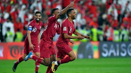 Perayaan kemenangan Qatar atas UEA - INDOSPORT