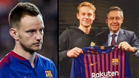 Ivan Rakitic (kiri/gelandang Barcelona) dan Frenkie De Jong, rekrutan anyar Blaugrana. - INDOSPORT