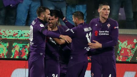 Perayaan gol pemain Fiorentina ke gawang AS Roma. - INDOSPORT