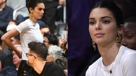 Kendall Jenner saat menonton Los Angeles Lakers vs Philadelphia 76ers. - INDOSPORT