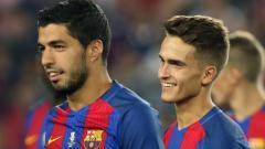 Indosport - Denis Suarez (kanan) dikabarkan kian dekat dengan pintu keluar dari Barcelona dan akan segera bereuni dengan mantan pelatihnya di Valencia