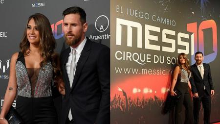 Lionel Messi dan Antonella Roccuzzo saat berada di red carpet peluncuran Messi 10. - INDOSPORT