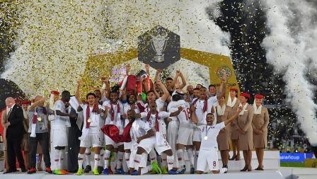 Kegembiraan di tampilkan oleh para pemain Timnas Qatar sebagai juara Piala Asia melawan Jepang di Stadion Zayed Sports City pada (01/02/19) di Abu Dhabi, Uni Emirat Arab.