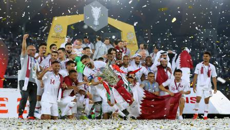 Kemeriahan kemenangan Qatar sebagai juara Piala Asia melawan Jepang di Stadion Zayed Sports City pada (01/02/19) di Abu Dhabi, Uni Emirat Arab.