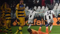 Indosport - Selebrasi pemain Cristiano Ronaldo usai mencetak gol ke gawang Parma