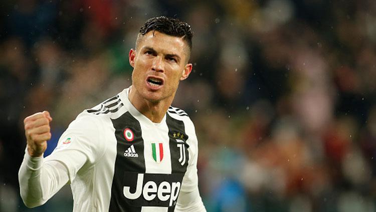Ekspresi emosional dari pemain megabintang Juventus, Cristiano Ronaldo. Copyright: INDOSPORT