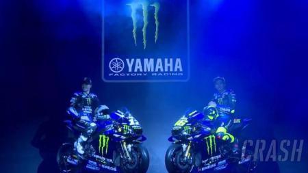 Maverick Vinales dan Valentino Rossi dengan motor baru Yamaha di musim 2019. - INDOSPORT