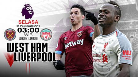 Pertandingan West Ham vs Liverpool. - INDOSPORT