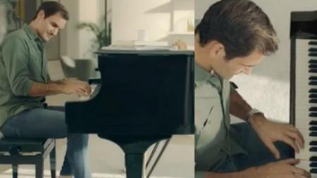 Penampakan Roger Federer sedang bermain piano. - INDOSPORT