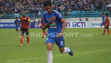 Septian David Maulana mencetak satu gol di laga PSIS Semarang vs Persibat Batang.